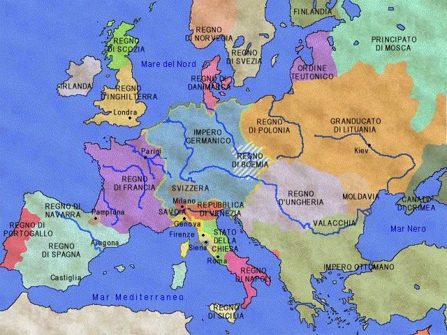 Cartina 1400.L Europa Nel 1450