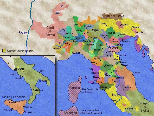 Italia all'inizio del xiv secolo