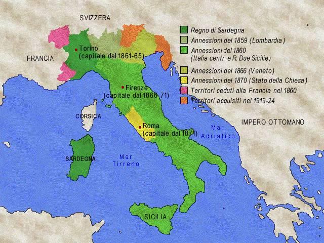 Cartina Politica Italia 1860.Xix Sec L Unificazione D Italia
